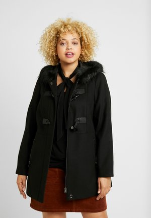 FUR HOOD DUFFLE COAT - Short coat - black