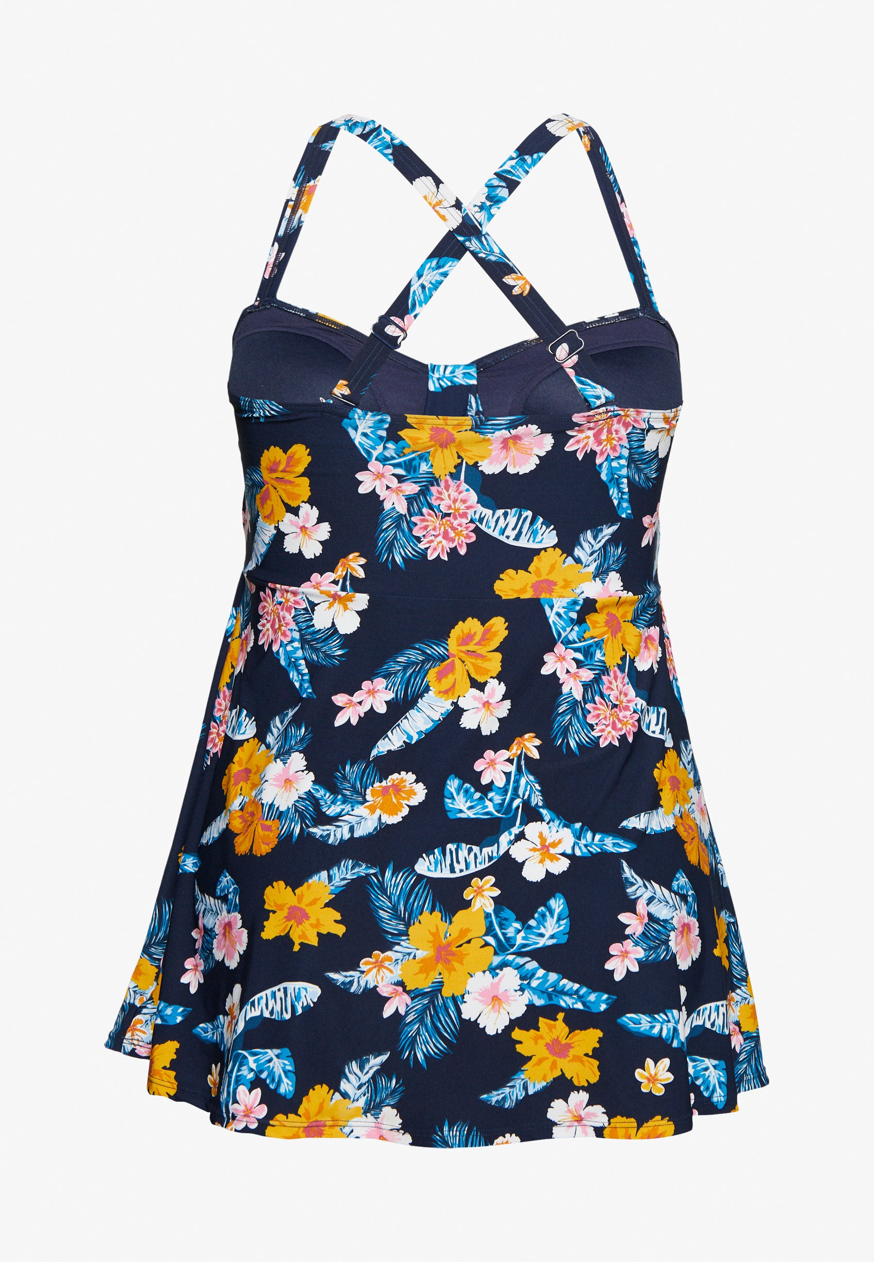 Evans Tropical Floral Print Swimdress - Baddräkt Navy