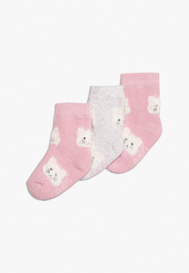 BABY 3 PACK - Socks - altrosa/hellsilber meliert