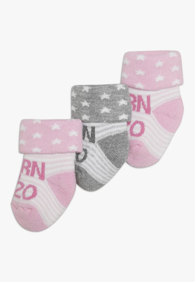 NEWBORN 3 PACK - Socks - rosa/grau