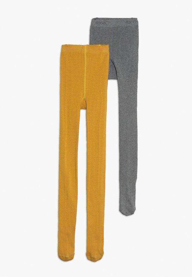 2 PACK - Strømpebukser - mustard yellow/grey