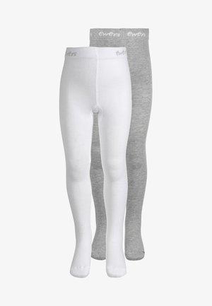 2 PACK - Sukkahousut - weiß/grau melange