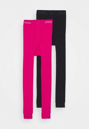 2 PACK - Legging - schwarz/pink