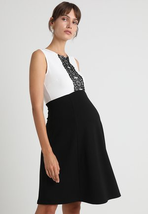 DRESS WITH FLARED - Jerseykjole - black/off-white