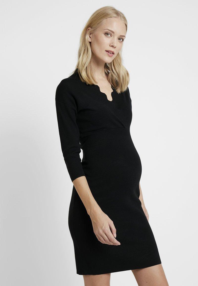 Anna Field MAMA - Stickad klänning - black