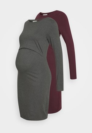 2 PACK NURSING DRESS - Jersey dress - grey/bordeaux