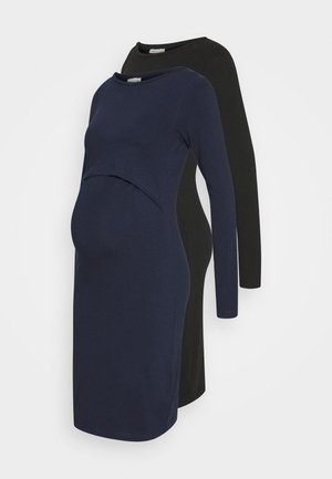 2 PACK NURSING DRESS - Žerzejové šaty - dark blue/black