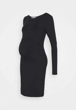 NURSING BODYCON LONGSLEEVE DRESS MATERNITY  - Žerzejové šaty - black