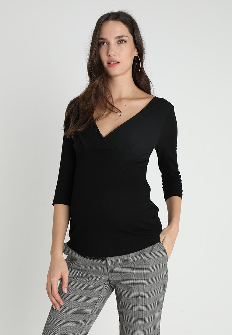 Anna Field MAMA - Bluzka z długim rękawem - black