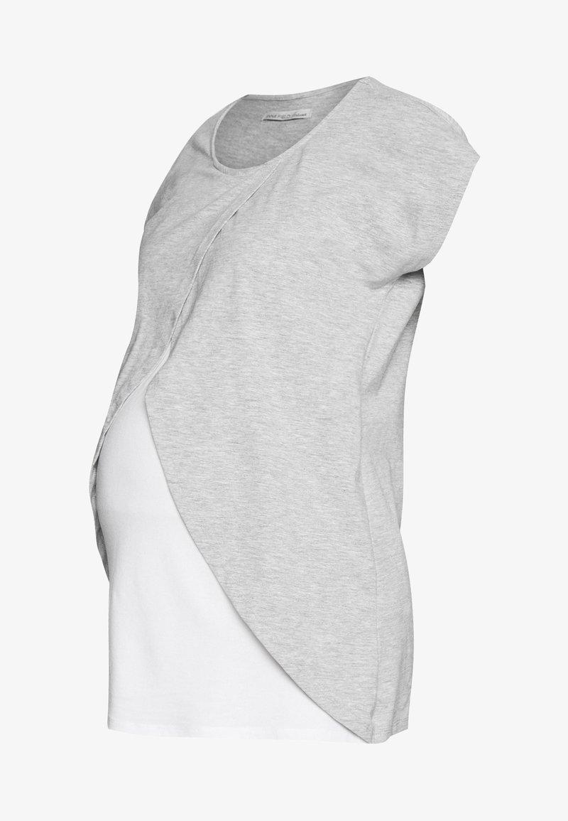 Anna Field MAMA - BASIC NURSING TOP - Print T-shirt - white/grey