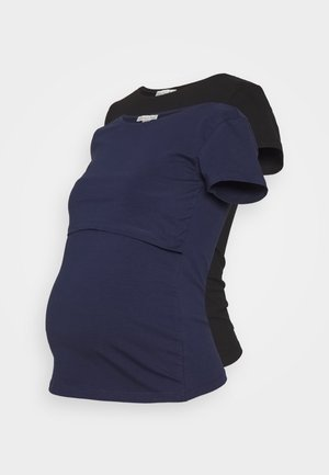 2PACK NURSING BASIC t-shirt - Camiseta estampada - dark blue/black
