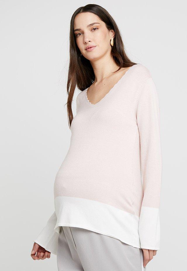 Stickad tröja - rose/offwhite