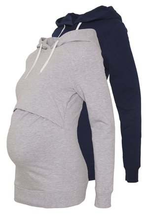 2 PACK - Bluza z kapturem - light grey/dark blue