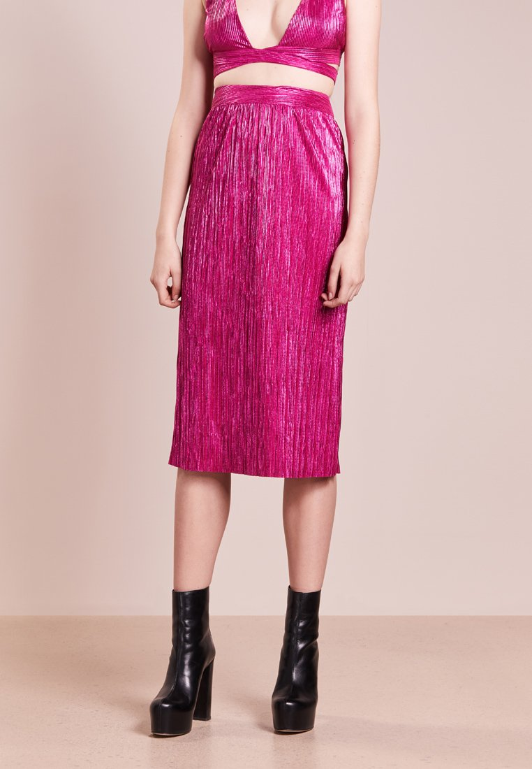 For Love & Lemons - MARION MIDI SKIRT - Pleated skirt - fuschia