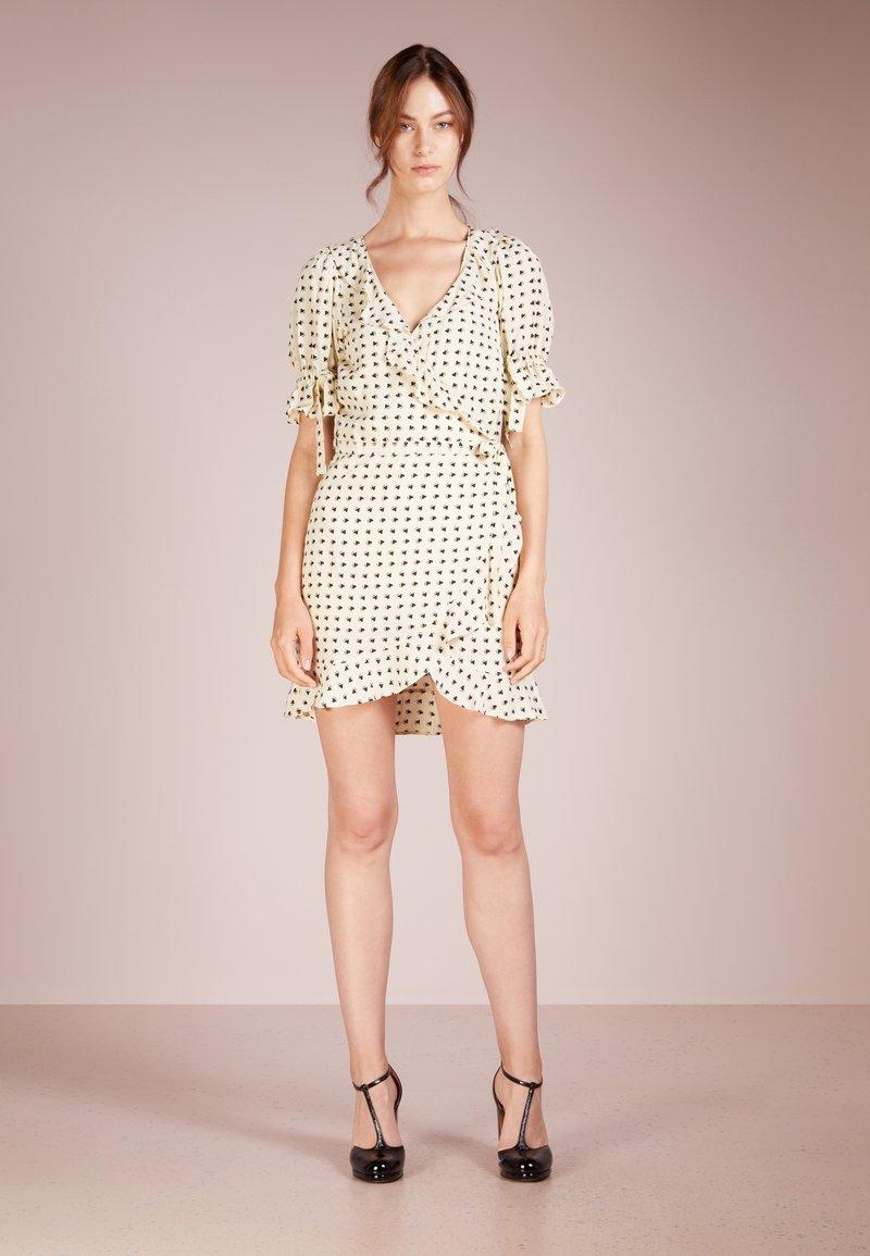 For Love & Lemons - SWEETHEART WRAP MINI DRESS - Day dress - creme