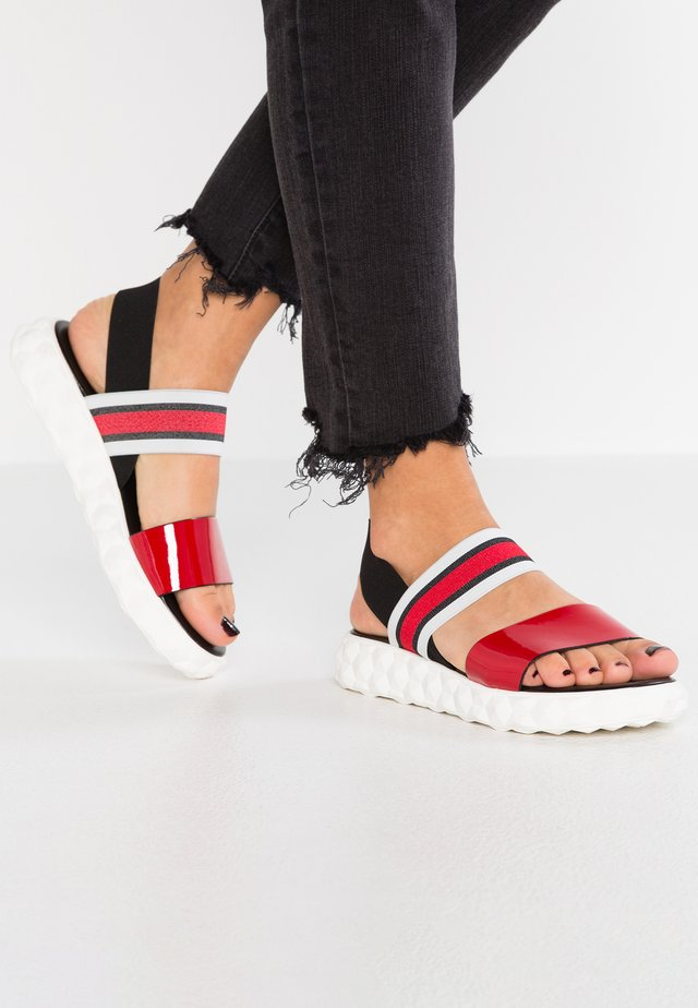 CRAZY - Korkeakorkoiset sandaalit - rosso/multicolor
