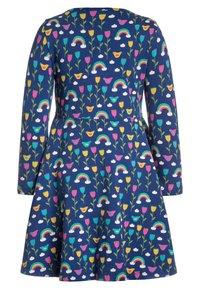 Frugi - ORGANIC COTTON SOFIA SKATER DRESS BLUE RAINBOW FLOWERS - Jerseyklänning - dark blue - 1