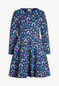 Frugi - ORGANIC COTTON SOFIA SKATER DRESS BLUE RAINBOW FLOWERS - Jerseyklänning - dark blue - 0