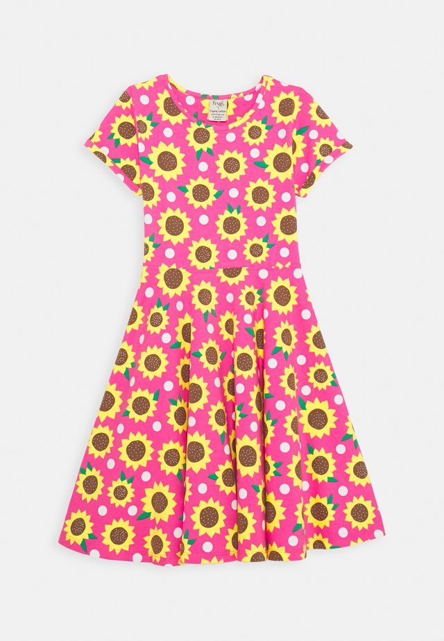 SOFIA SKATER DRESS SUNFLOWERS - Jerseykleid - flamingo