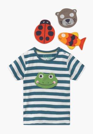 BUTTON OFF FUN FACES APPLIQUE BABY - T-Shirt print - blue