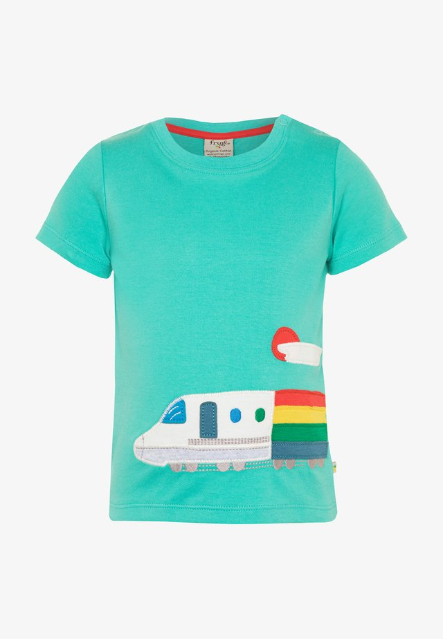 ORGANIC COTTON COOPER APPLIQUE TRAIN BABY - T-shirt med print - pacific aqua