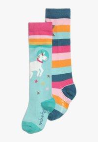 Frugi - ORGANIC COTTON HYGGE HIGH KNEE SOCKS IN RAINBOW UNICORN 2 PACK - Chaussettes hautes - multicolor - 0