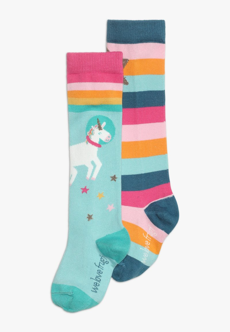 Frugi - ORGANIC COTTON HYGGE HIGH KNEE SOCKS IN RAINBOW UNICORN 2 PACK - Chaussettes hautes - multicolor