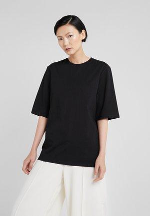 LONG CREW NECK - T-shirts - black