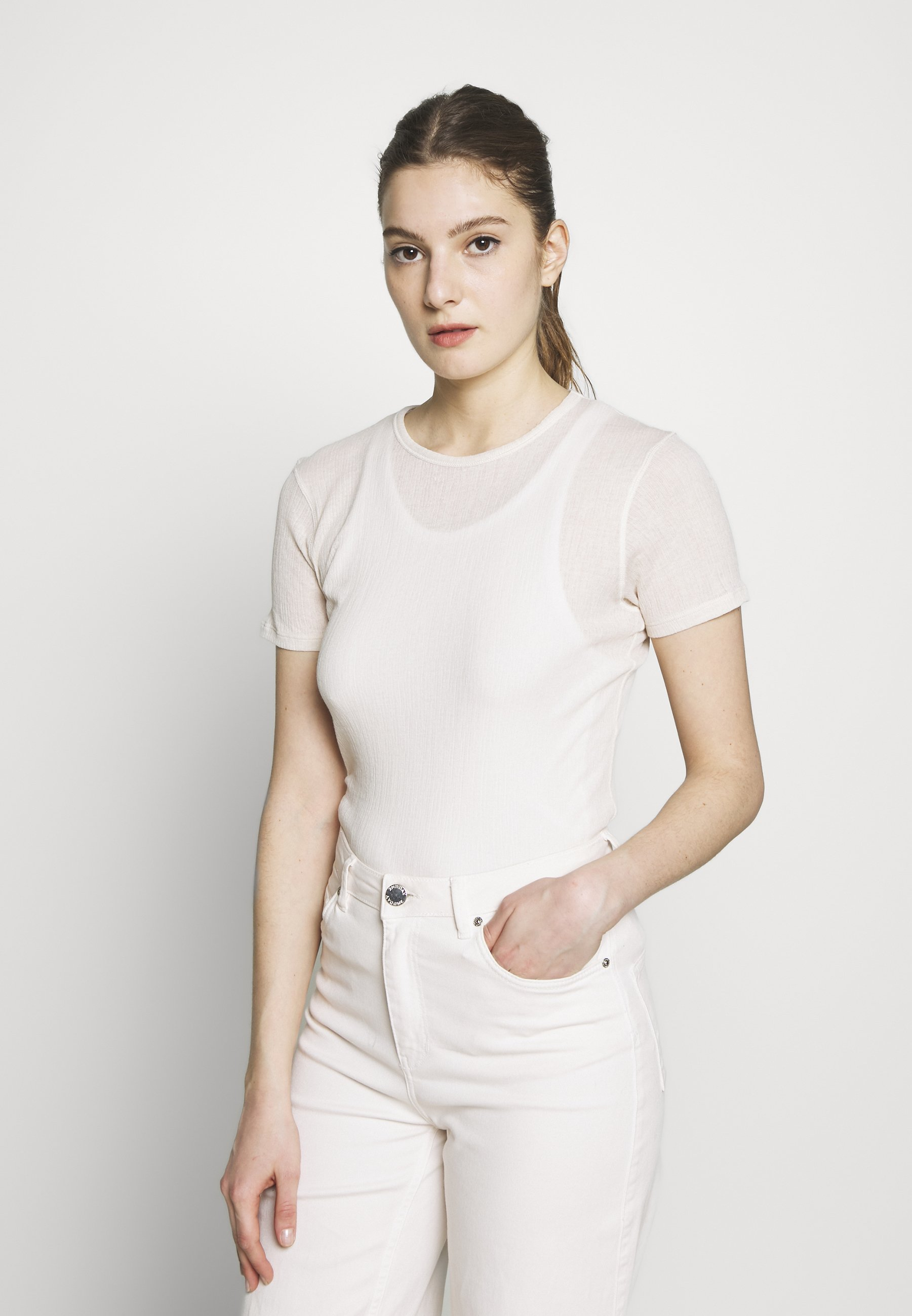 Filippa K SHEER TEE - T-shirts - bone