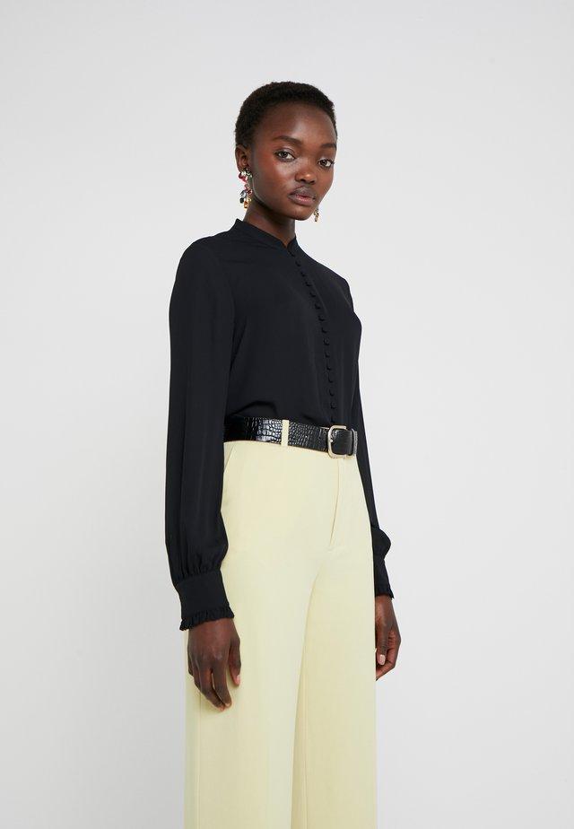 SHEER BUTTON BLOUSE - Button-down blouse - black