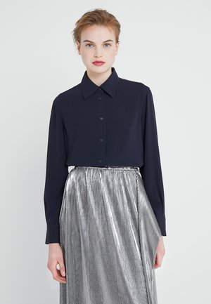 LONG CREPE SHIRT - Button-down blouse - navy