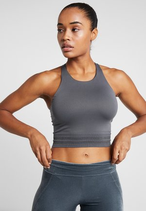 SEAMLESS CROP TOP - Top - metal/grey