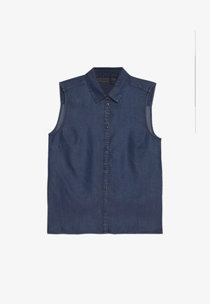 Button-down blouse - glossy blue denim