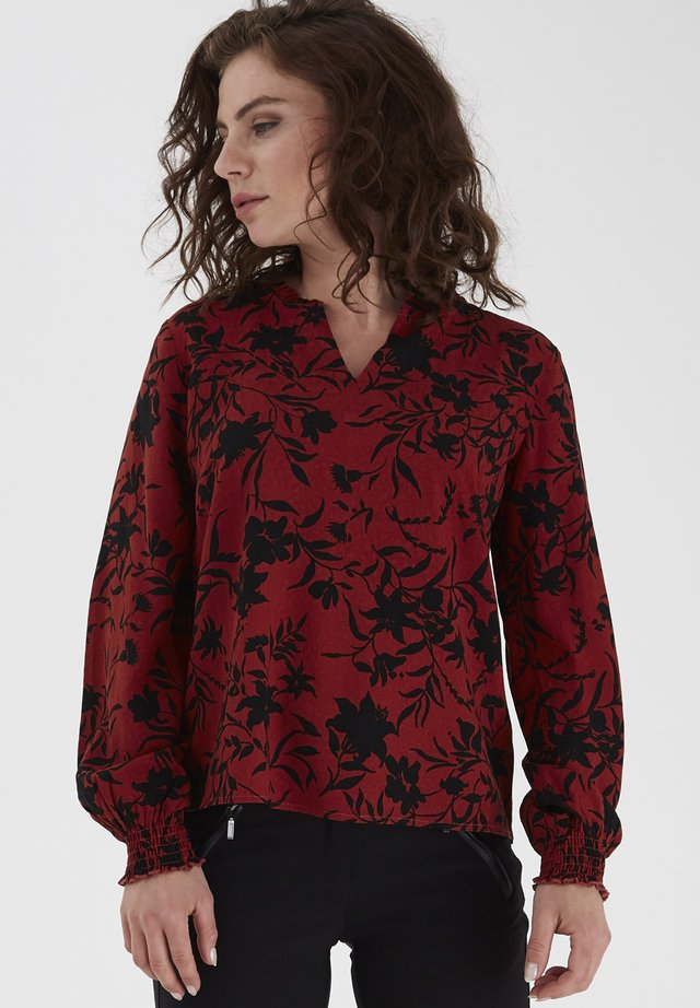 Blouse - barn red mix