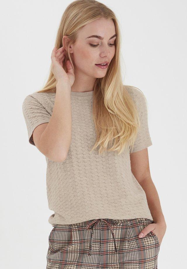 T-shirt - bas - beige melange