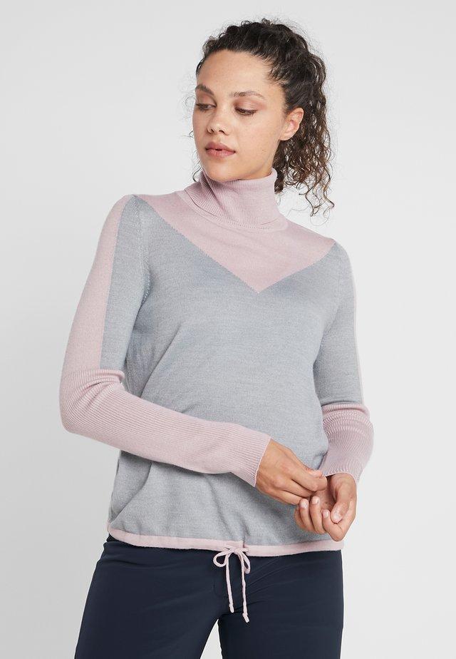 XENA - Stickad tröja - pink/light grey