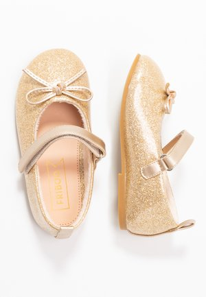 Ankle strap ballet pumps - gold