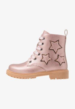 Bottines à lacets - old pink