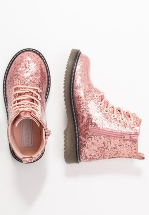 Bottines à lacets - old pink