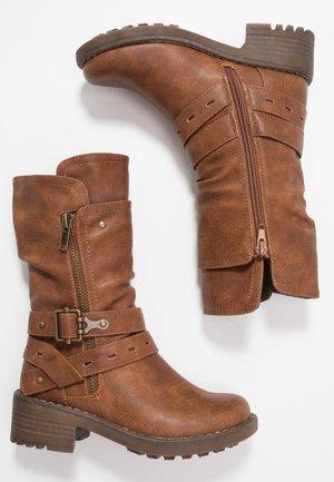 Cowboy/Biker boots - cognac