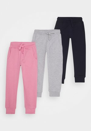3 PACK - Tracksuit bottoms - pink/light grey/dark blue
