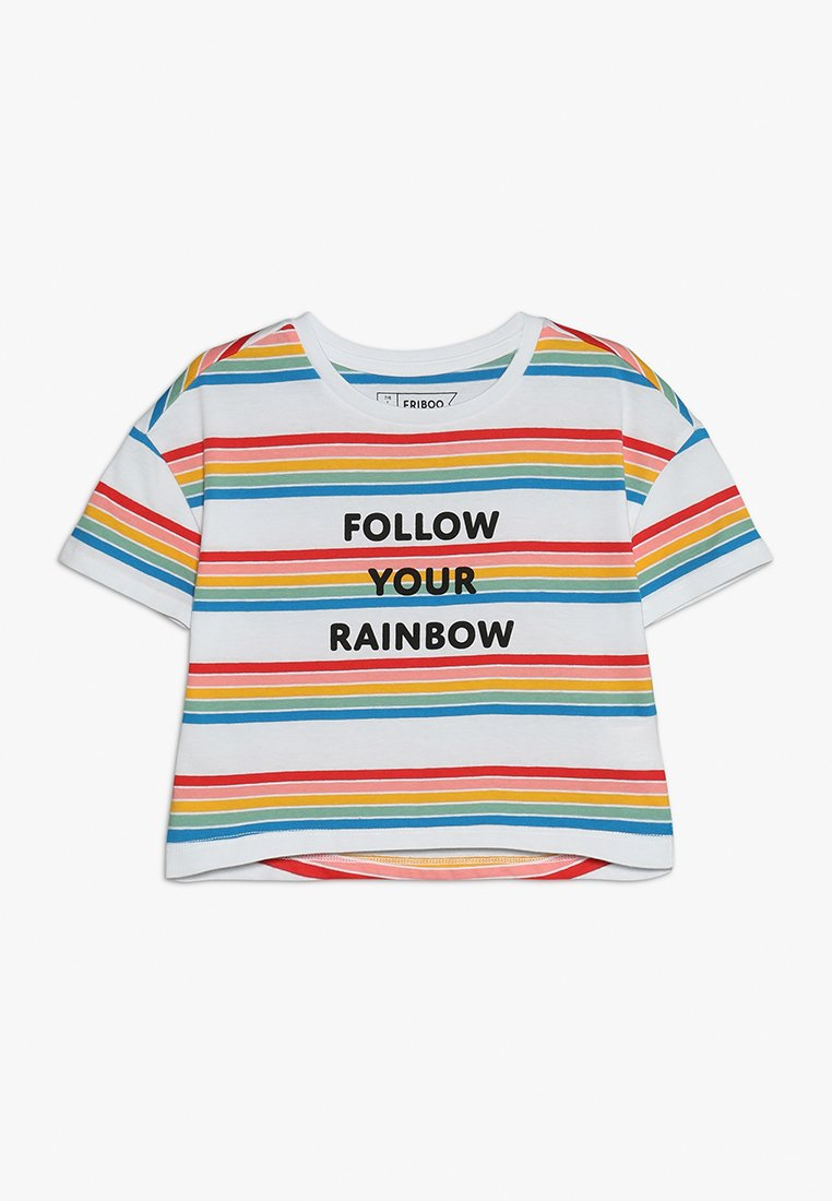 Friboo - CROPPED RAINBOW TEE - T-Shirt print - bright white