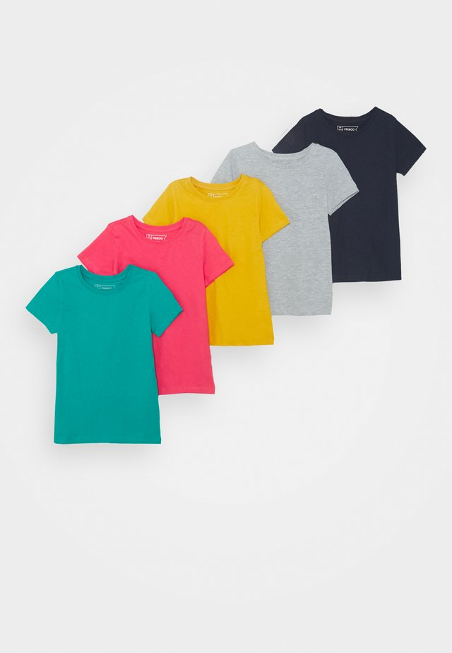 5 Pack - T-shirt med print - berry/light grey/turquoise