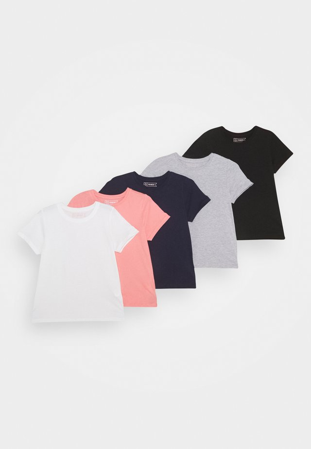 5 Pack - T-shirt med print - light grey/pink/black/white/dark blue