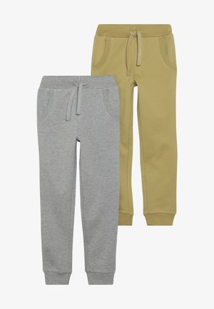 BOYS 2 PACK - Tracksuit bottoms - light grey melange/khaki