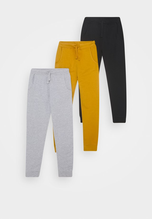 3 PACK - Pantaloni sportivi - light grey/ochre/black