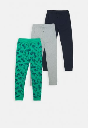 3 PACK - Tracksuit bottoms - green/dark blue/light grey