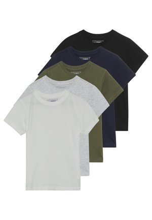 5 PACK - T-shirt med print - winter white/khaki/black