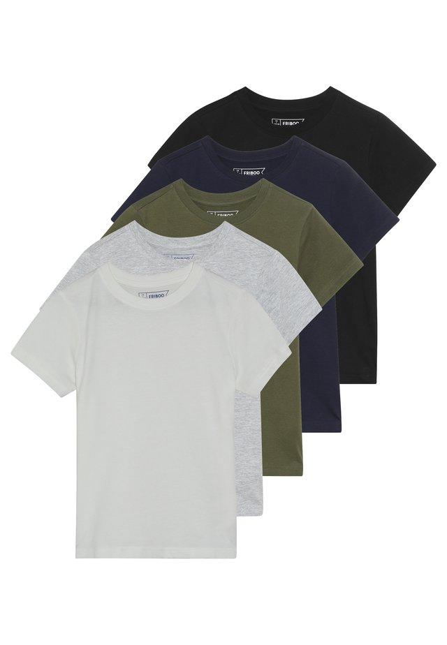 5 PACK - T-shirt med print - winter white/khaki/black
