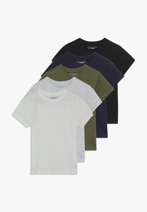 5 PACK - T-shirt print - winter white/khaki/black